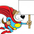 Cartoon superhero dog with a sign. — Stock Vector #50942387