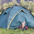 Tourist sleeping in a tent — Stock Photo