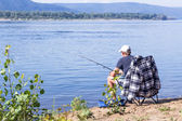 The fisherman on the river Volga — Stock Photo