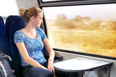 Woman looking out the window in the train — Stock Photo
