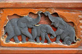 Elephant wood carving — Stock Photo