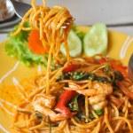 Постер, плакат: Stir Fried Spicy Spaghetti with Shrimp