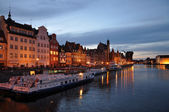 Gdansk at night poland — Stock Photo