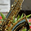 Stock Photo: Golden saxophone musical instrument