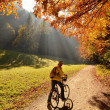 Ride in autumn forest — Stock Photo