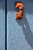 Blue door with handle — Stock Photo