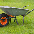 Wheelbarrow in the grass - Stok fotoğraf