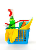 Several cleaning products in a basket — Stock Photo