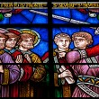 Stained glass with knight and saints — Stock Photo
