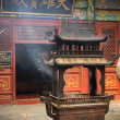 Incense holder in Chinese temple - Stock Photo