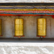 Buddhist prayer wheels at a temple — Photo