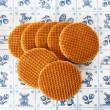 Dutch waffles on Delft Blue background - Stok fotoğraf