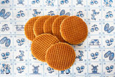 Dutch waffles on Delft Blue background — Stok fotoğraf