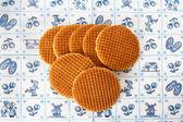 Dutch waffles on Delft Blue background — Stock Photo