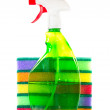 Spray bottle for a stack of sponges — Stock Photo