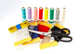 Sewing kit isolated on white background — Stock Photo