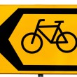 Road sign for cyclists indicating a traffic diversion - Stock Photo
