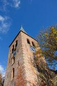 Torre de igreja na vila holandesa do norte — Foto Stock