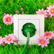 Green power plug into outlet on the grass — Stock Photo #16855287