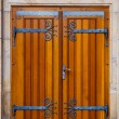 Wooden doors with decorative fittings - Стоковая фотография