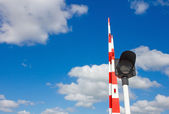 Barrier and traffic light of bridge — Stock Photo