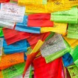 Background of Buddhist Tibetan prayer flags — Stock Photo