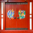 Door gods on red doors in China — Stock Photo
