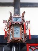 Traditional Chinese hand carved wood palace lantern with painted — Stock Photo