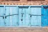 Blue doors locked with padlocks — Stock Photo