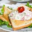 Salad with toasts — Stock Photo