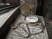 Golden pocket watch - sepia style — Stock Photo