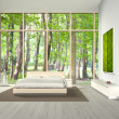 Bedroom with beautiful view - Stock Photo
