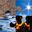 The four elements puzzle — Stock Photo