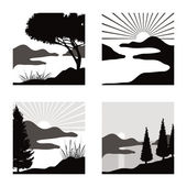 Landscape pictograms — Stock Vector
