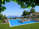 View to the pool and the sea — Stock Photo