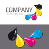 Cmyk drops logo — Stock Vector