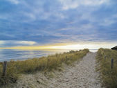 Footpath in the dunes during sunset — Stock Photo