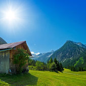 Wooden hut in the alps — 图库照片