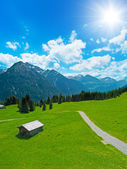 Hut with alpine landscape — Stock Photo