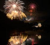 Fireworks near Abbey Melk — Stock Photo