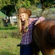 Cowboy Reitergirl — Stock Photo