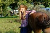 Cowboy Reitergirl — Stock Photo