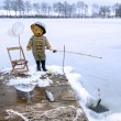 Stock Photo: Teddy ice fisher