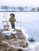 Teddy ice fisher — Stock Photo