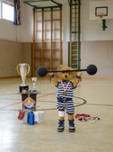 Teddy as strength athlete — Stock Photo
