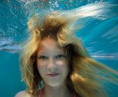 Underwater portrait teenager — Stock Photo