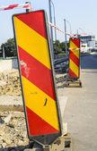 Road construction detour sign — Stock Photo
