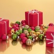 Christmas gifts and christmas balls — Stock Photo #11466348