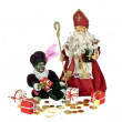 Santa Claus and black Piet with gingernuts, candies and presents at 5th december — Photo #11468067
