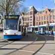 Stock Photo: Trams waiting at Central Station in Amsterdam Netherlands